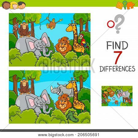 Spot The Differences Game With Wild Animals
