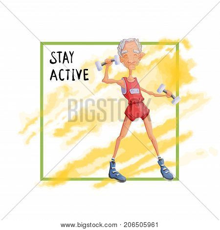 An elderly gray-haired man doing exercise with dumbbells. Active lifestyle and sport activities in old age, poster template. Vector illustration.