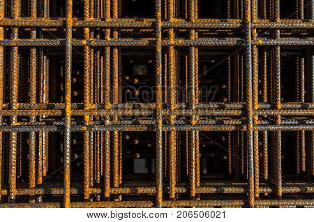 Stacked steel wire mesh for concrete cement construction at construction site