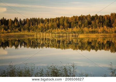 Lake landscape on a background of a decline in autumn