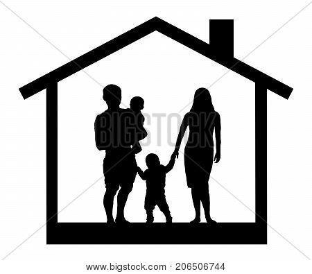 Family silhouette house , vector, on white background