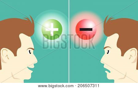 Business Concept As A Smiling Man Stares At Positive Symbol Means Optimistic Attitude Makes Good Emotion. A Frown Man Stares At Negative Symbol Means Pessimistic Attitude Makes Bad Emotion.