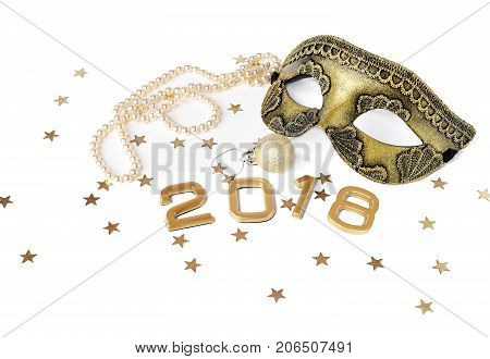 new year 2018 set of mask, ball and pearl bead