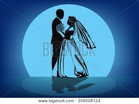 Contour image of the dancing bride and groom against the background of the moon -vector