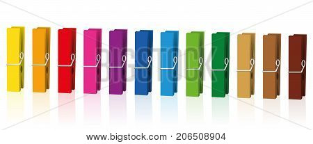 Clothes pegs - neat colored clothespins arranged in row - isolated vector on white background.