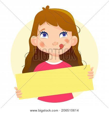 Girl holding blank poster. Blank message illustration. Hands holding blank paper