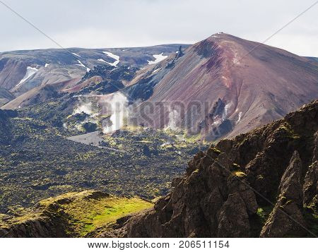 Lava fields and thermal springs in the Landmannalaugar valley Iceland