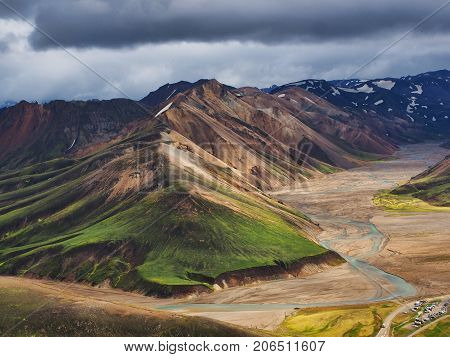 Colorful mountains in the Landmannalaugar valley Iceland