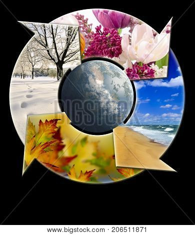 Four-arrow circle with super imposed images representing four seasons of the year with the planet earth in the middle, isolated on a black background.