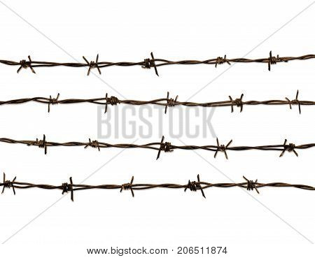 4 lines of  rusty barbed wire, isolated against the white background.