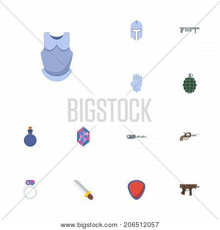 Flat Icons Firearm, Gloves, Jewelry And Other Vector Elements