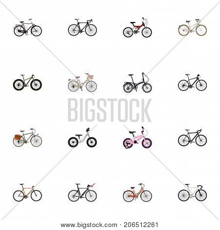 Realistic Old, Childlike, Competition Bicycle And Other Vector Elements
