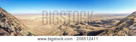 Panorama of beautiful Brukkaros mountain and crater, an impressive landscape near Keetmanshoop, Namibia, Southern Africa