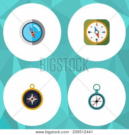 Flat Icon Direction Set Of Divider, Measurement Dividers, Instrument And Other Vector Objects