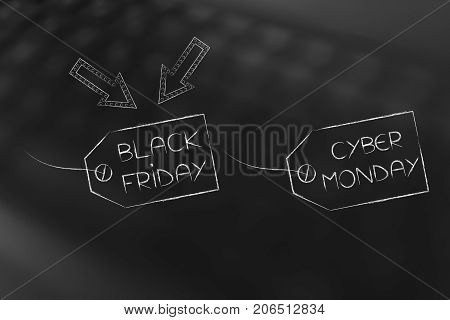 Price Tags With Black Friday And Cyber Monday Text And Arrows Pointing At The First One