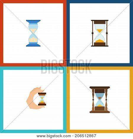 Flat Icon Hourglass Set Of Measurement, Sandglass, Minute Measuring Vector Objects