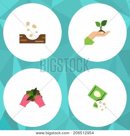 Flat Icon Seed Set Of Care, Seed, Plant And Other Vector Objects