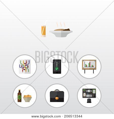 Flat Icon Life Set Of Bureau, Beer With Chips, Cellphone And Other Vector Objects