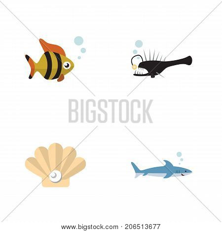 Flat Icon Nature Set Of Seafood, Shark, Fish And Other Vector Objects