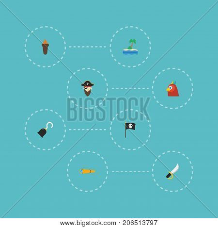 Flat Icons Corsair, Telescope, Banner And Other Vector Elements