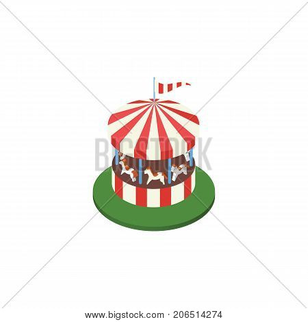 Carousel Vector Element Can Be Used For Carousel, Horses, Attraction Design Concept.  Isolated Horses Attraction Isometric.