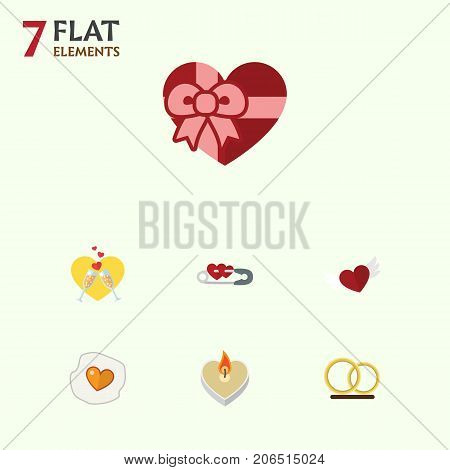 Flat Icon Heart Set Of Present, Fire Wax, Wings And Other Vector Objects