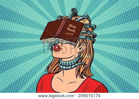religious fanatic woman. Pop art retro vector vintage illustrations