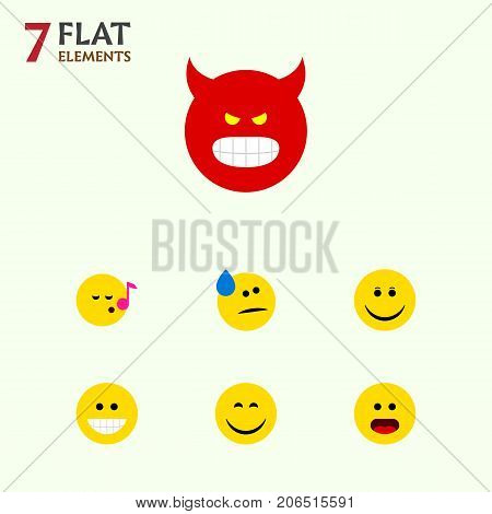 Flat Icon Emoji Set Of Wonder, Tears, Smile And Other Vector Objects