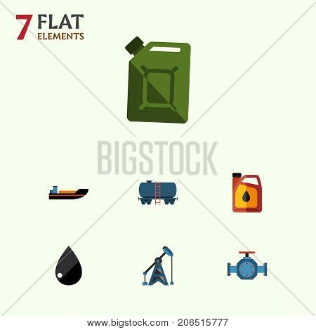 Flat Icon Fuel Set Of Boat, Flange, Fuel Canister And Other Vector Objects