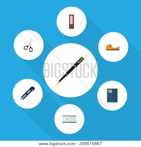 Flat Icon Tool Set Of Knife, Dossier, Copybook And Other Vector Objects