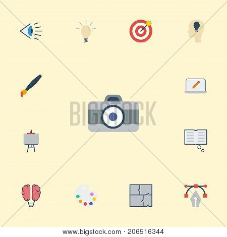 Set Of Constructive Flat Icons Symbols Also Includes Easel, Photo, Notion Objects.  Flat Icons Bulb, Writing, Stand Vector Elements.