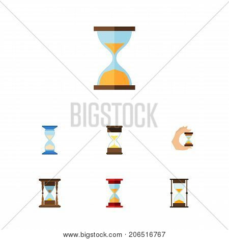Flat Icon Sandglass Set Of Sand Timer, Minute Measuring, Clock Vector Objects