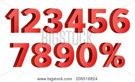 3D Red Discount Numbers Vector. Percent. Numbers From 0 to 9. Percentage Icon Set In 3D Style. Isolated On white Illustration