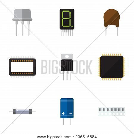 Flat Icon Technology Set Of Mainframe, Transistor, Calculate And Other Vector Objects