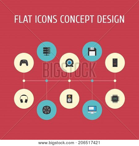 Flat Icons System Unit, Earphones, Web Cam And Other Vector Elements
