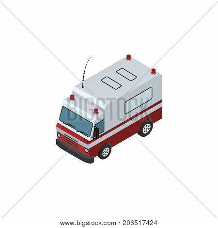First-Aid    Vector Element Can Be Used For Ambulance, Aid, Car Design Concept.  Isolated Ambulance Isometric.