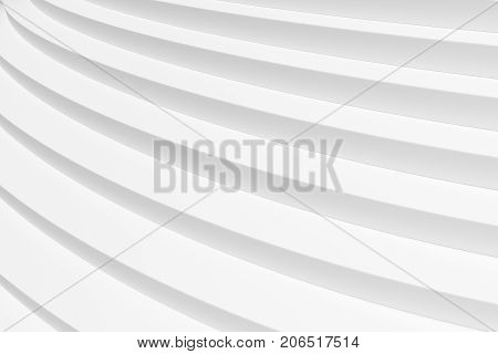 White round ascending stairs of upward staircase without shadows closeup diagonal view 3d illustration abstract white background