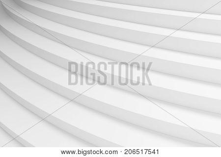 White round ascending stairs of upward staircase with shadows from soft light closeup diagonal view 3d illustration abstract white background