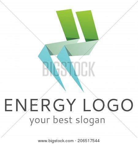 Vector logo with paper made lightning energy