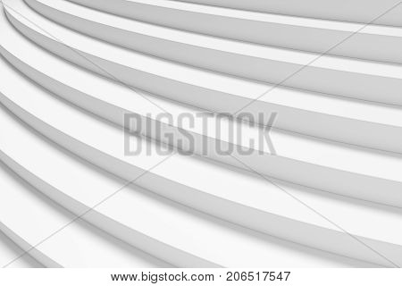 White round ascending stairs of upward staircase with shadows from light closeup diagonal view 3d illustration abstract white background