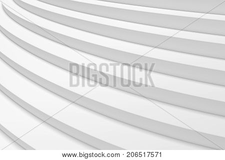 White round ascending stairs of upward staircase under soft light closeup diagonal view 3d illustration abstract white background
