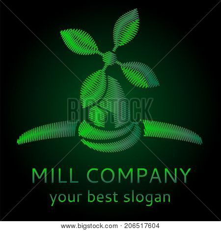 embroidery Ecological vector logo concept. Organic vegan windmill logotype with grean leaves