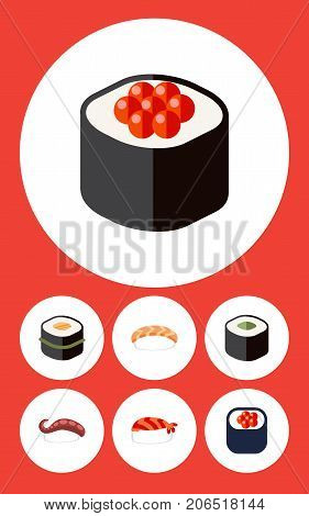 Flat Icon Maki Set Of Seafood, Japanese Food, Sushi And Other Vector Objects