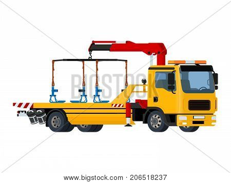 Vector isolated yellow tow truck on white background.