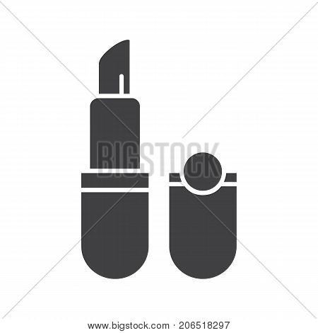 Lipstick glyph icon. Silhouette symbol. Pomade. Negative space. Vector isolated illustration