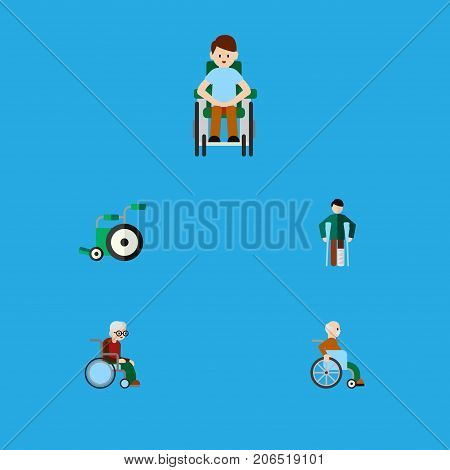 Flat Icon Cripple Set Of Equipment, Disabled Person, Wheelchair And Other Vector Objects