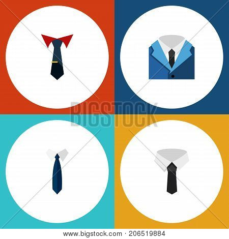 Flat Icon Necktie Set Of Tailoring, Suit, Textile And Other Vector Objects