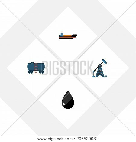 Flat Icon Petrol Set Of Droplet, Container, Boat And Other Vector Objects