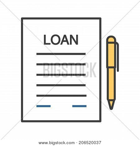 Loan agreement color icon. Mortgage document with pen. Isolated vector illustration