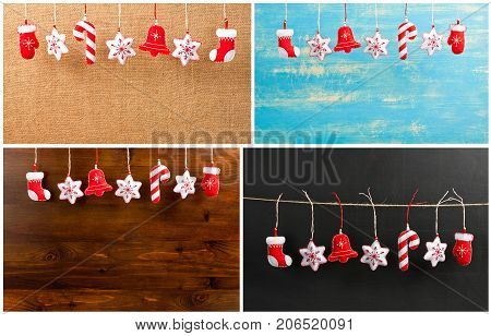 Set of Hanging Christmas and New Year decorations on a wooden background